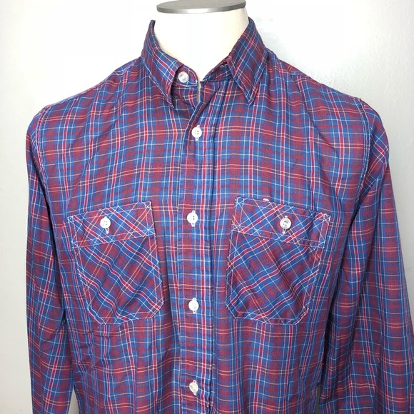 6da7eb3f jcpenney Shirts | Vintage Blue Red Plaid Button Down | Poshmark